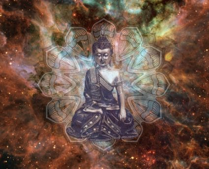 Buddha, Buddhism, photomontage, abstract, cosmos, star, art, colors, religion