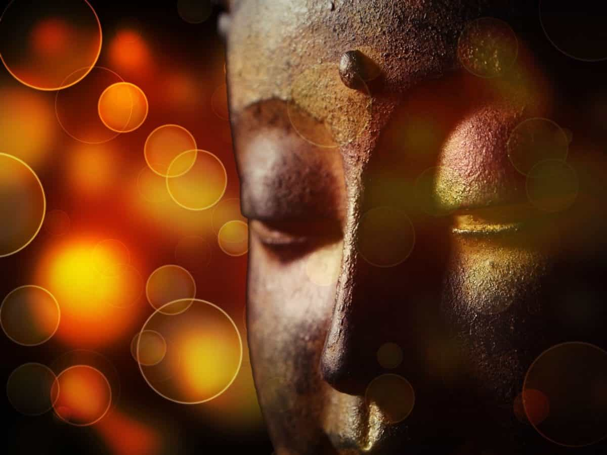 Buddhism, face, head, abstract, art, color, religion, reflection, dark, shadow