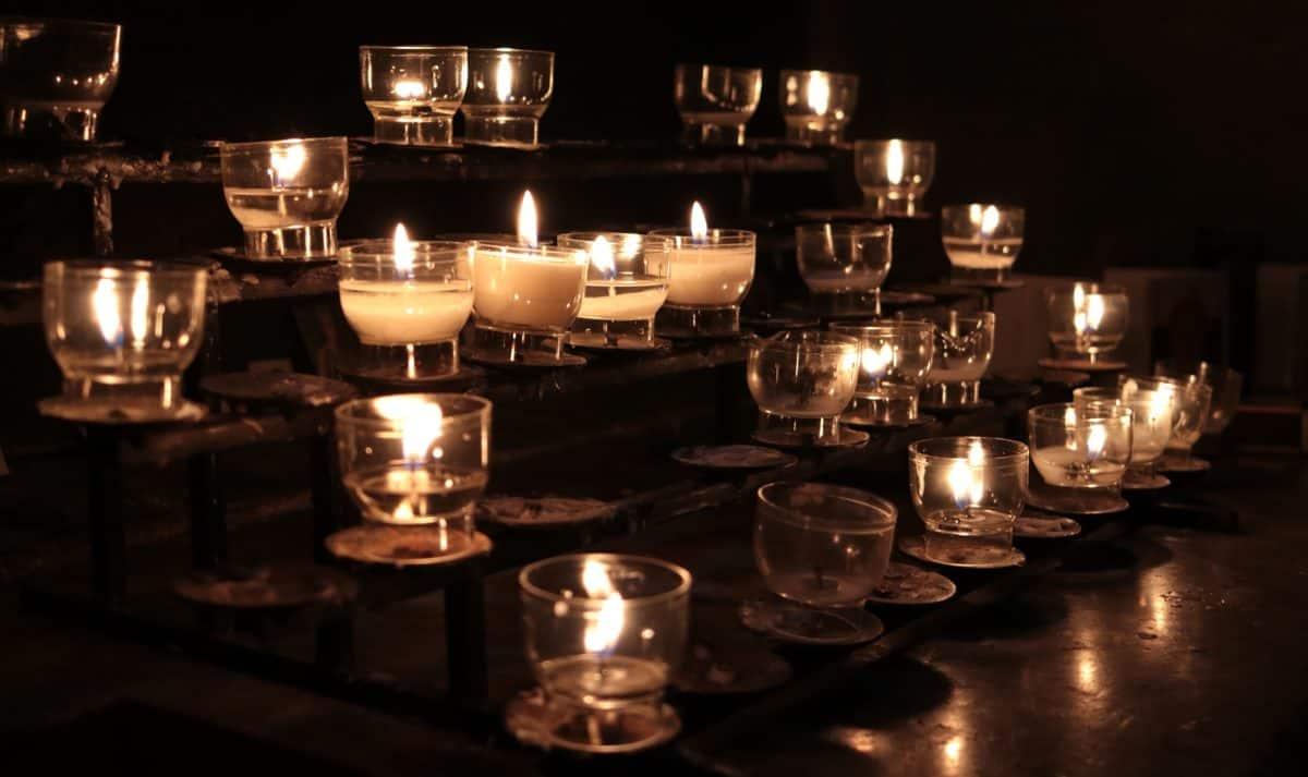 sombre, nuit, lampe, table, intérieur, verre, décoration,