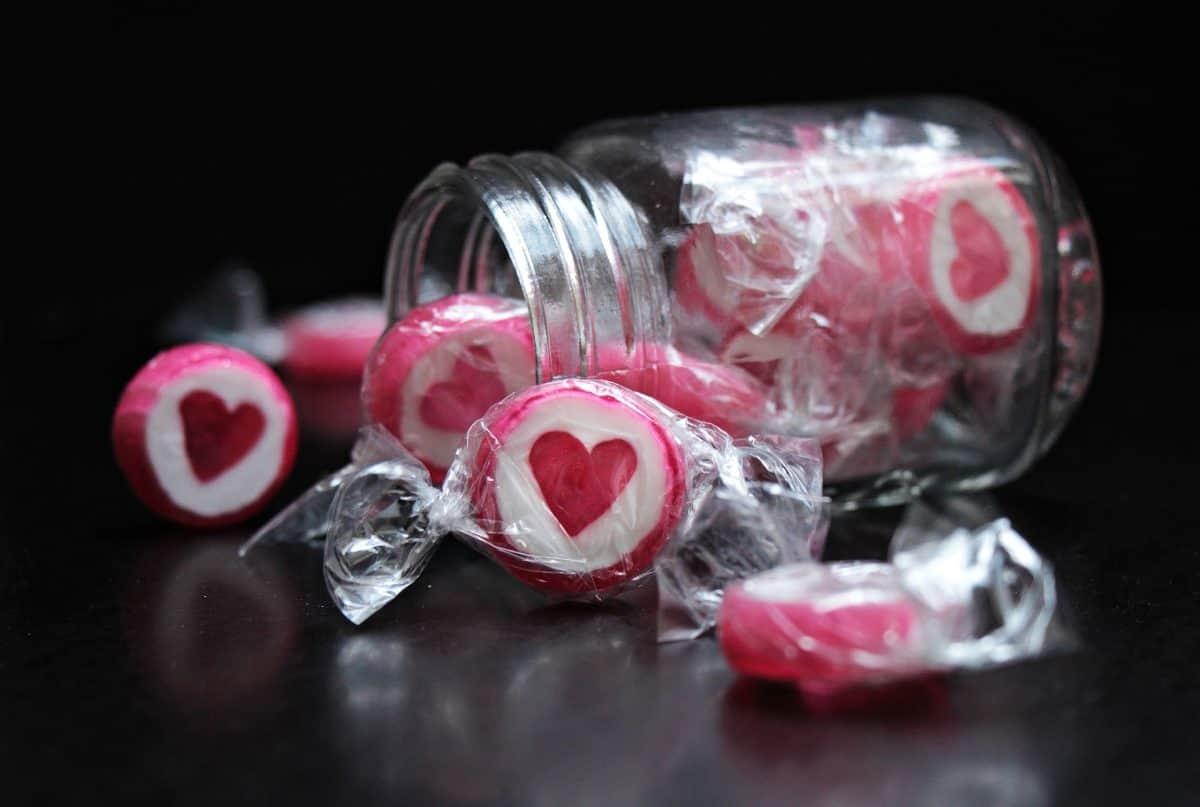 amour, bonbons, sweet, nourriture, verre, pot, verre, romance