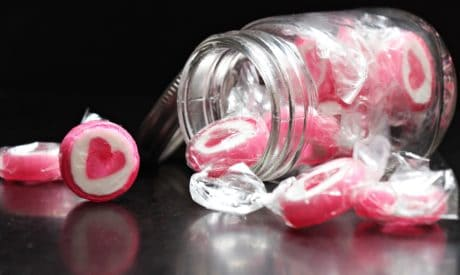 candie, sweet, food, glass, jar, heart, pink