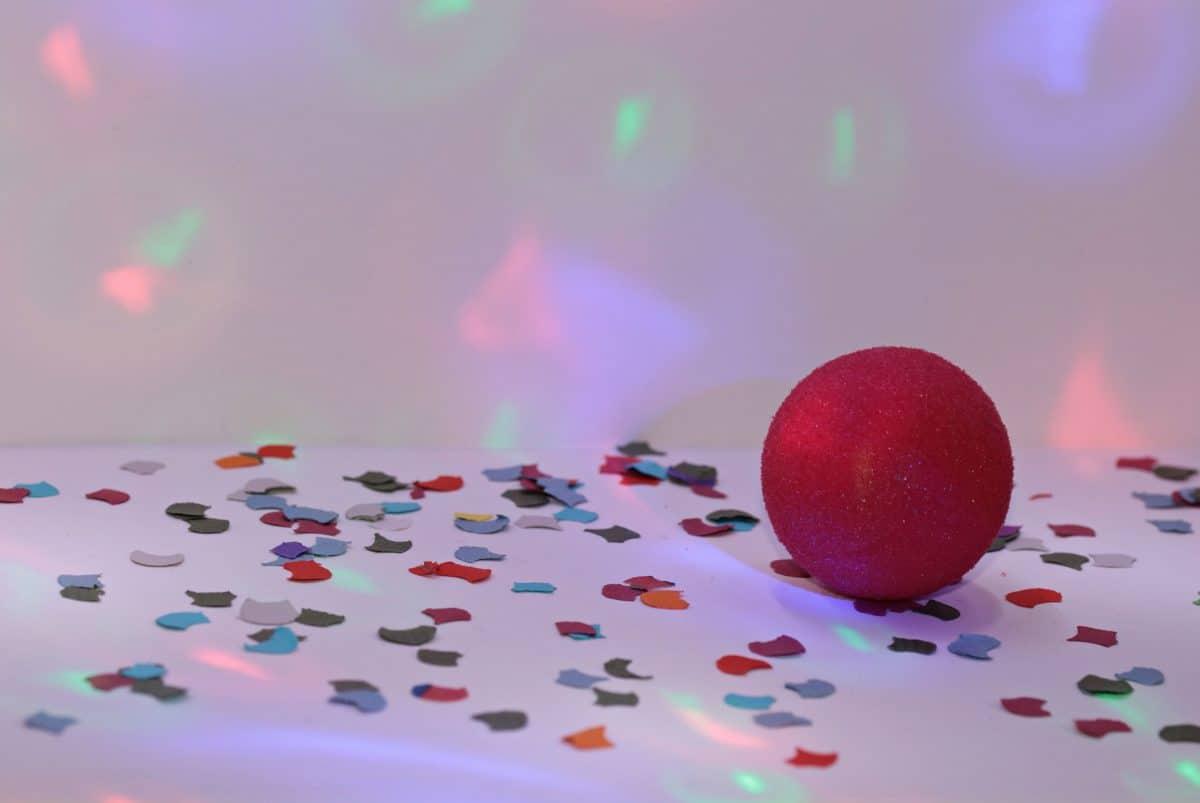 cumpleaños, bola roja, color, colorida, interior, decoración, celebración,