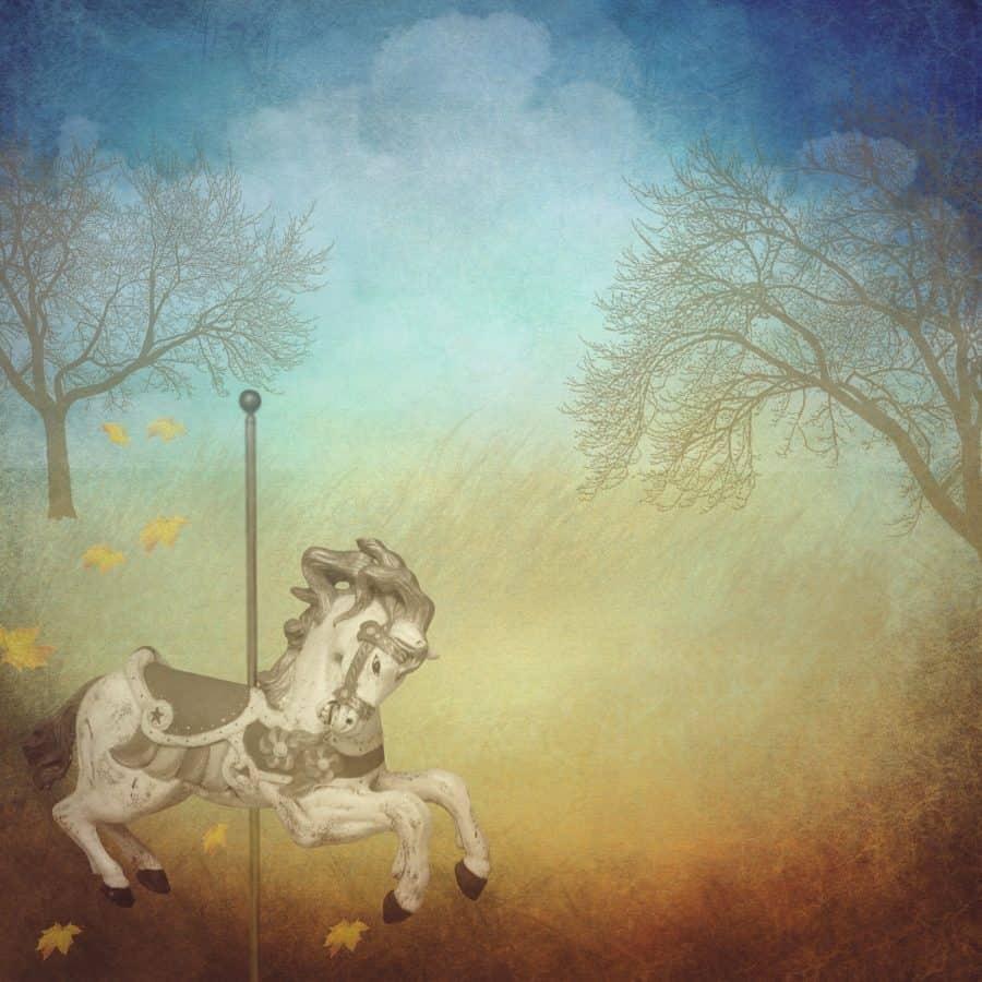photomontage, créativité, peinture à l'huile, cheval, arbre, forêt, art
