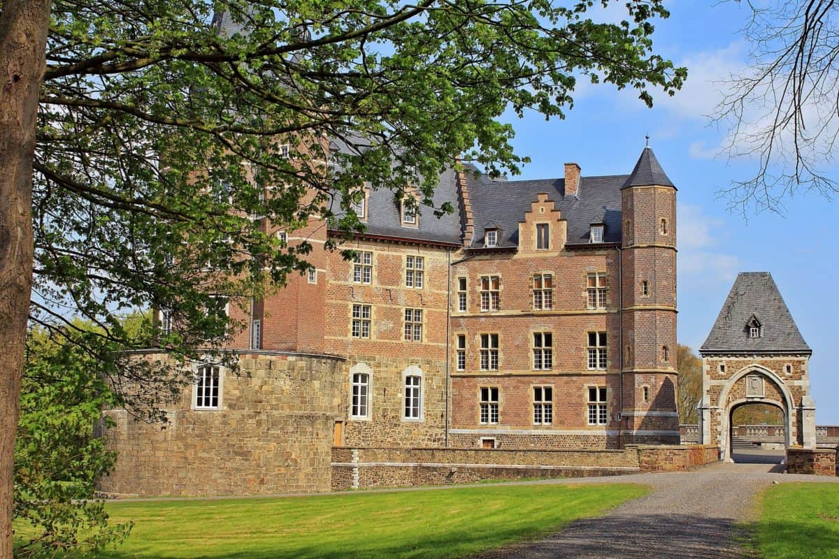 arkitektur, slott, gamle, tre, gress, utendørs, eksteriør, plen