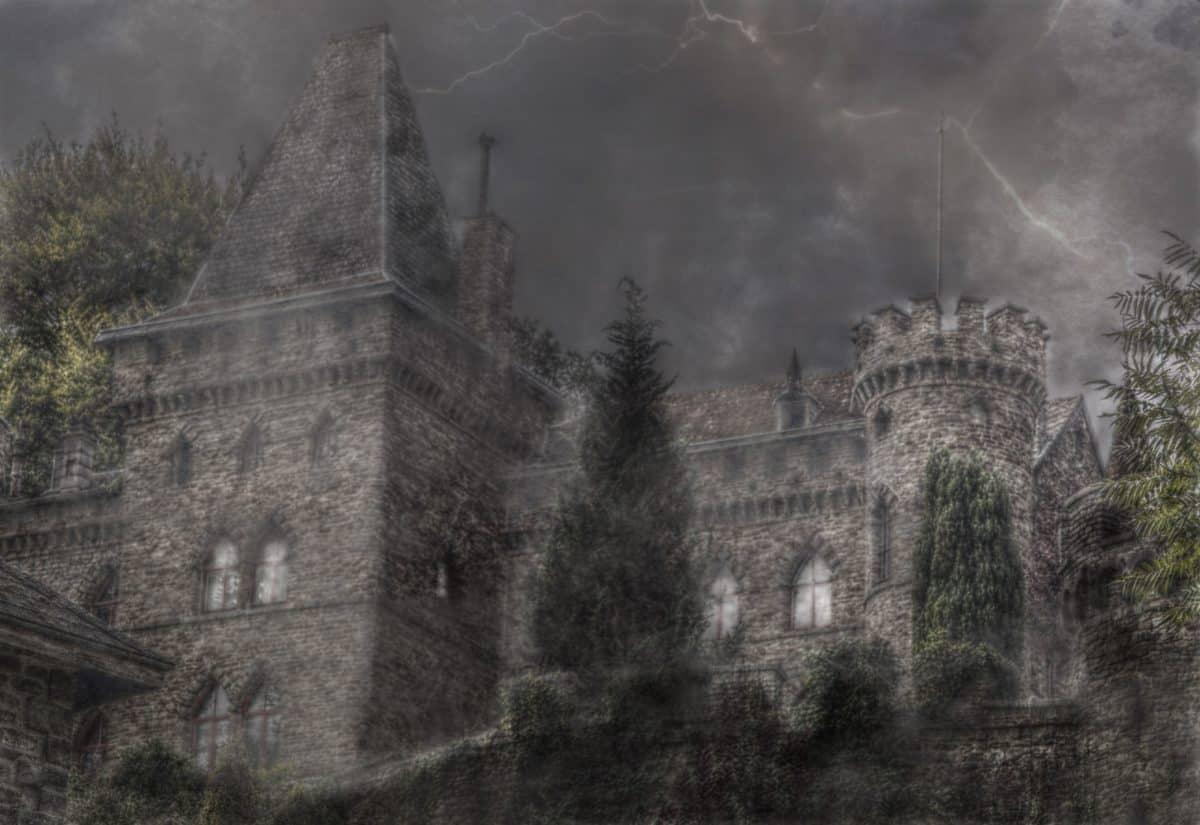 vieux, photomontage, architecture, fortification gothique, château,