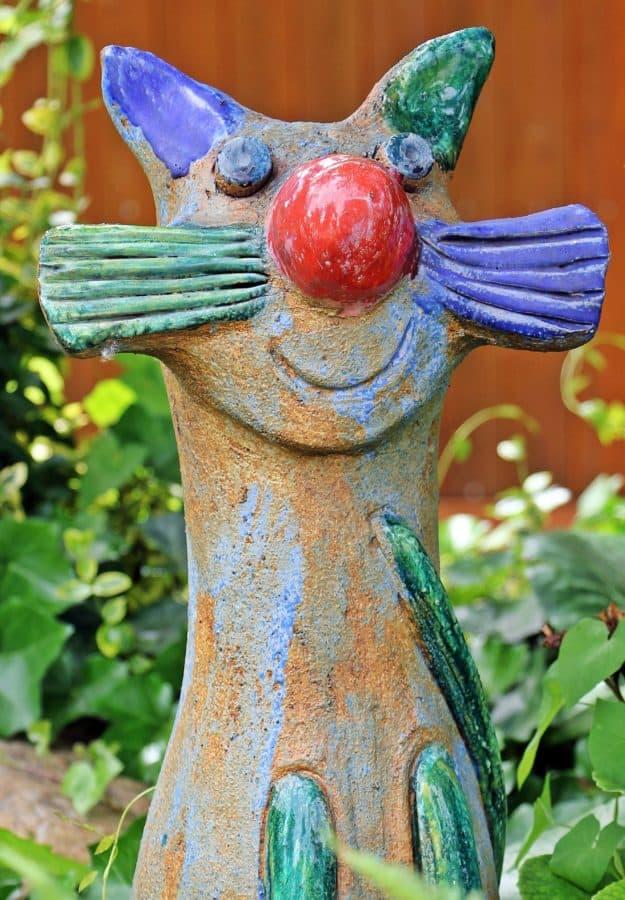 nature, art, sculpture, coloré, jardin, plein air, chat