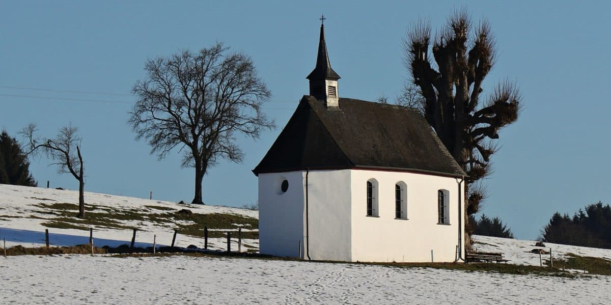 religion, architecture, church, blue sky, house, outdoor, tree, winter