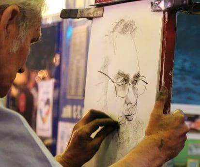 stående, person, mann, artist, portrett, tegning, hånd, kreativitet, hånd