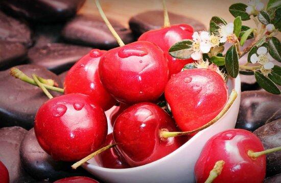 fruit, food, delicious, cherry, decoration, flower, gren leaf, still life