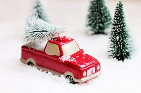 tree, snow, winter, red car, red, toy, decoration, object