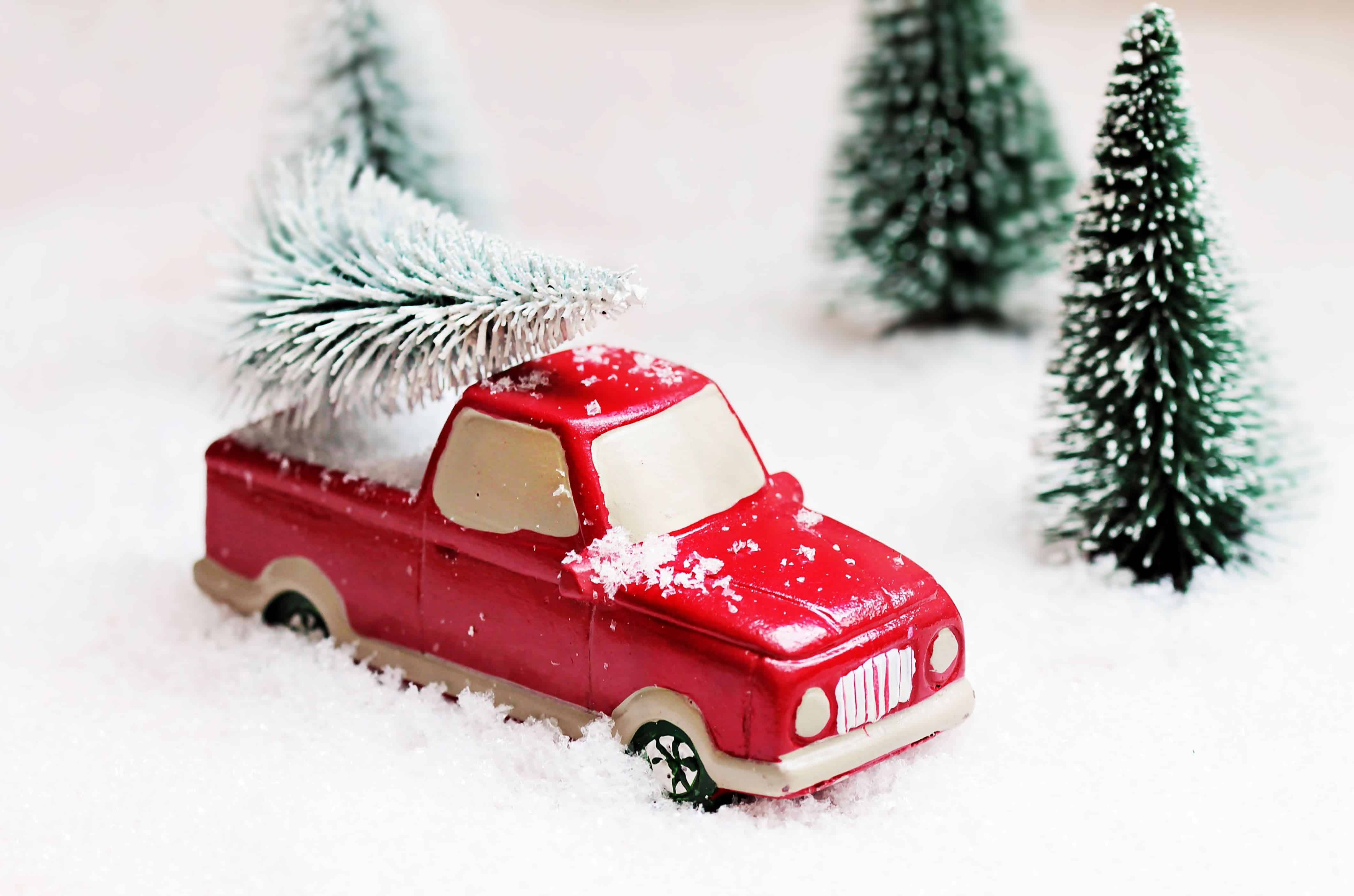 Free Picture Tree Snow Winter Red Car Red Toy