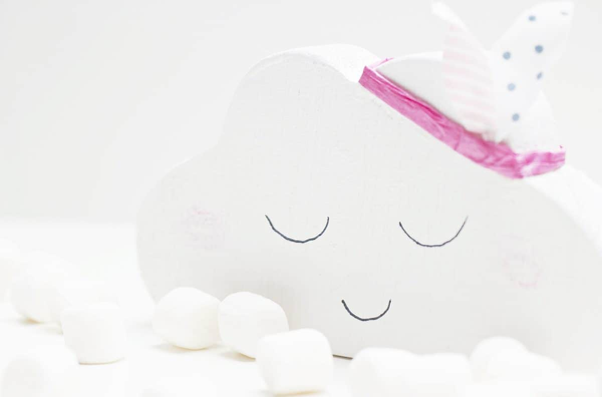 ของเล่นกระดาษ เมฆ นอนหลับ ศิลปะ ตกแต่ง สีขาว สีชมพู