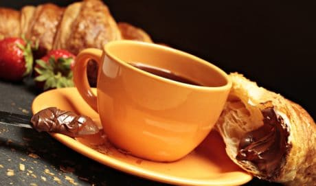 drink, tea, breakfast, food, coffee cup, croissant, cream, saucer