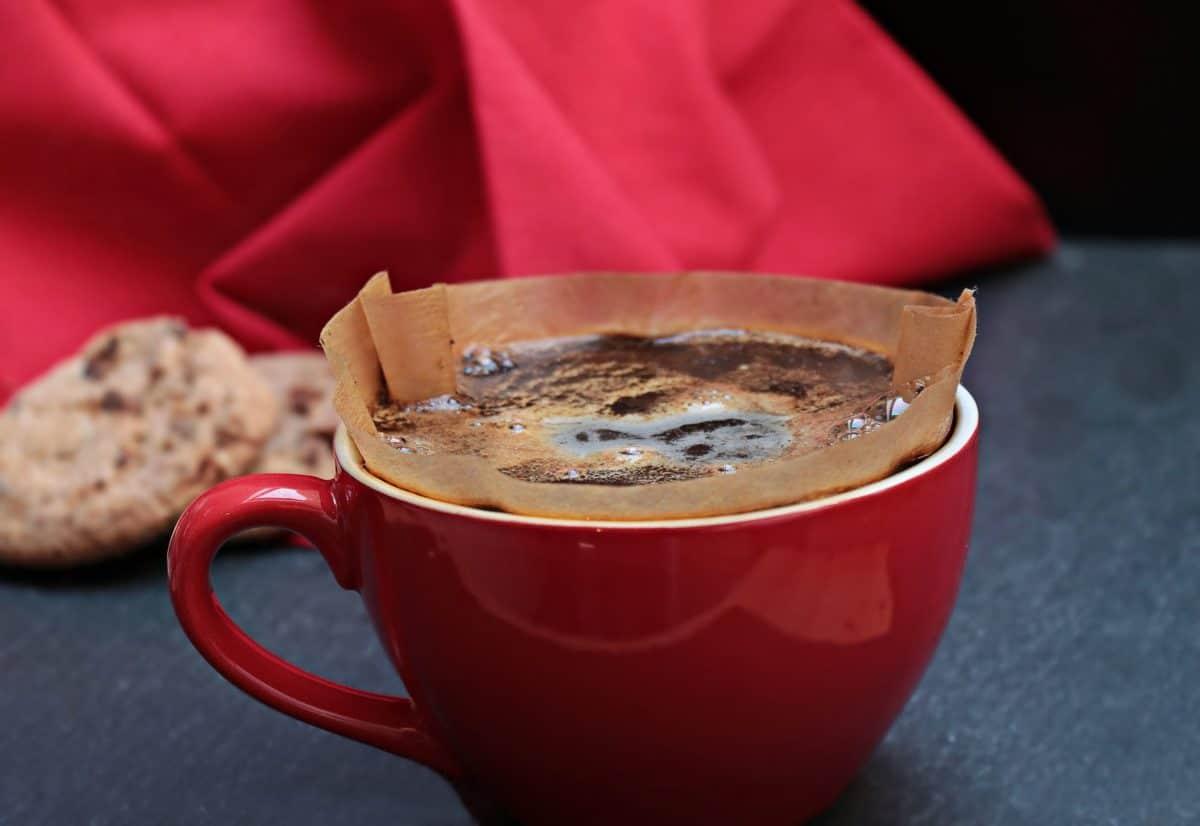 ceramika, czarny, kubek kawy, napojów, filtr, herbatniki, kubek