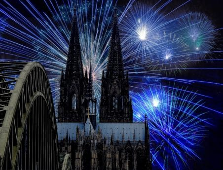 feux d'artifice, photomontage, pont, construction, cathédrale, ville, religion