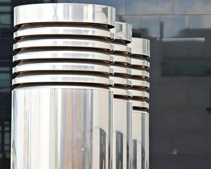 extérieur, métal, miroir, ville, architecture
