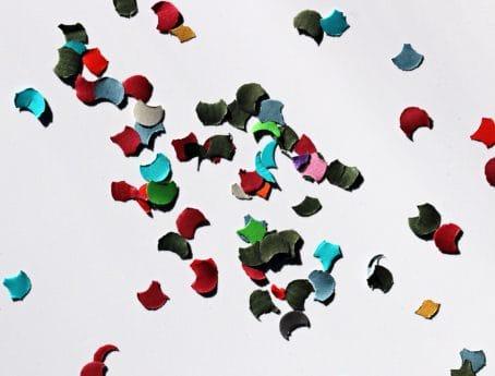 紙吹雪、カラフルな色、紙、抽象、アート、キャンバス