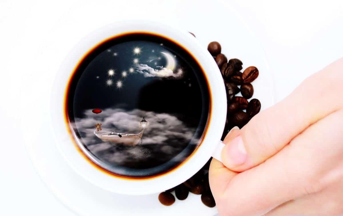 kofein, pití, šálek kávy, osoba, umění, reflexe, měsíc