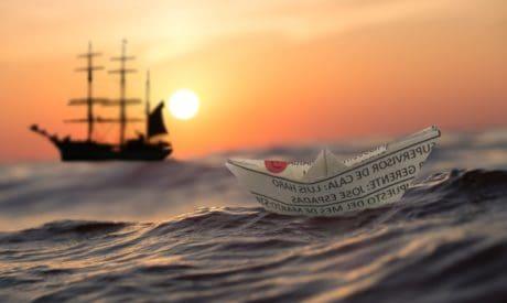 fotomontaj, mesaj, apus de soare, apa, soare, cer, ocean, barca, hârtie