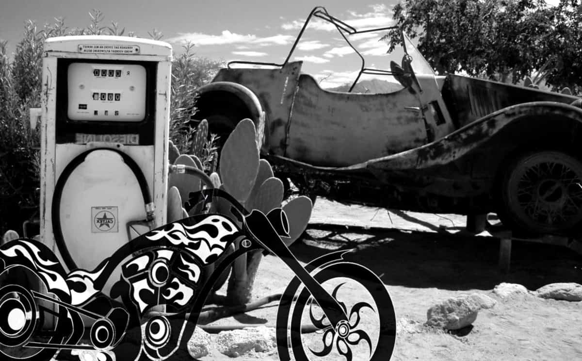 kjøretøy, Fotomontasje, bil, motorsykkel, bensinstasjon, monokrom