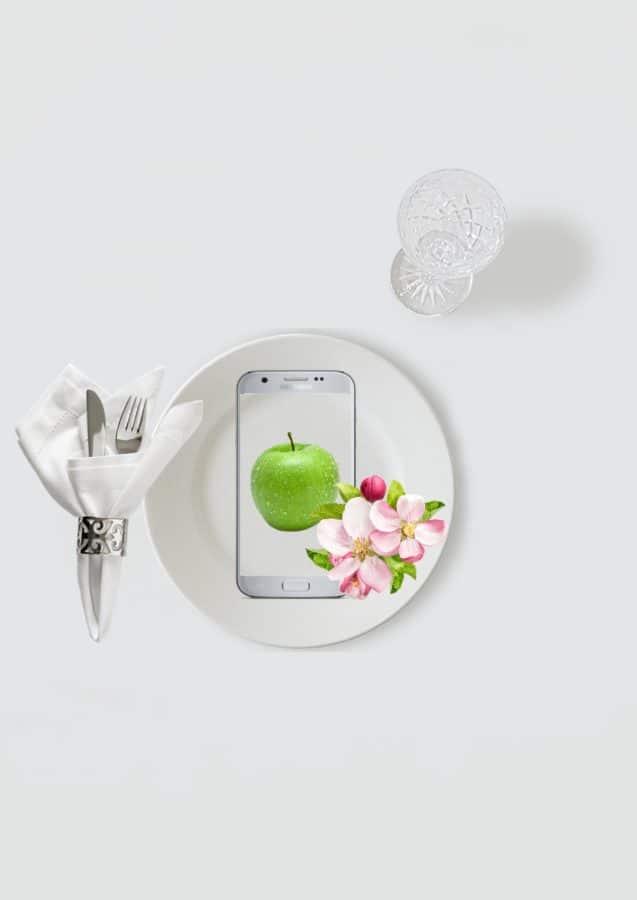 fotomontaggio, piastra, biologico, salute, mela, fiore, dieta, cibo, utensili da cucina, rosa