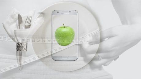 fotomontáž, tanier, apple, diéta, potraviny, organické, zdravie
