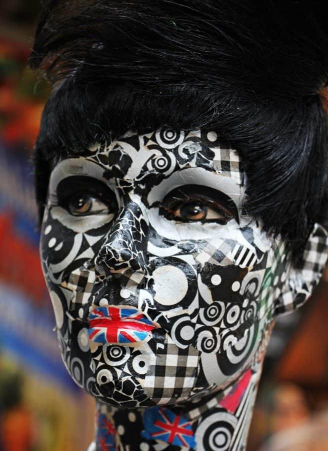 kostium, maskę, twarz, mężczyzna, oczy, makijaż