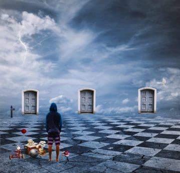 Fotomontage, abstrakt, Mann, Tür, Himmel, Blitz, Wolke