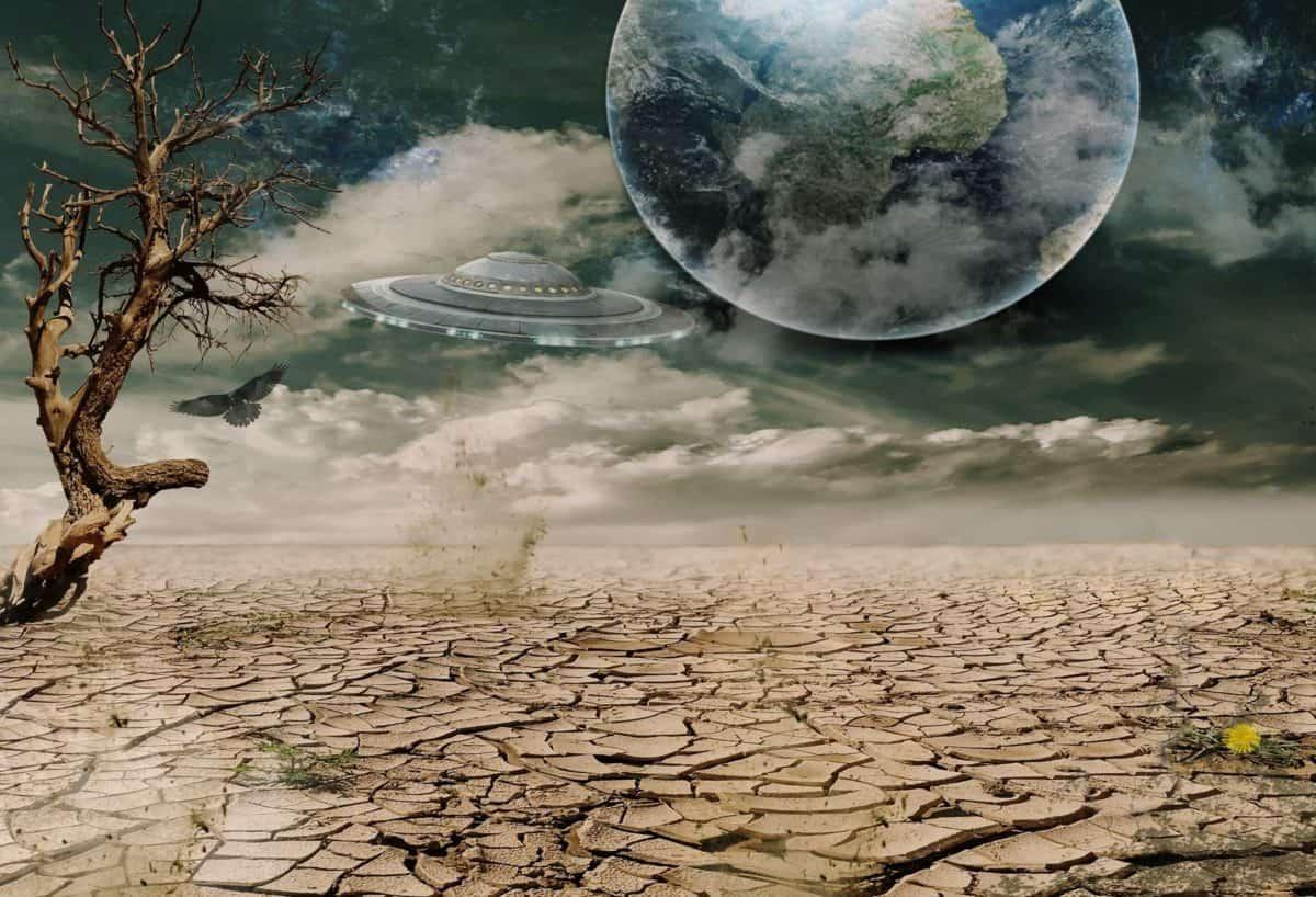 fotomontasje, kunst, kreativitet, landskap, miljø, natur, himmelen, utendørs, bakken, tre, tørt