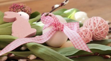 Easter egg, decoration, rabbit, egg, fabric, ribbon, flower, spring