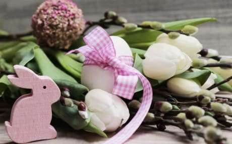 dekorace, vejce, králík, květ, jaro, Velikonoce, svátek, uspořádání, růžová