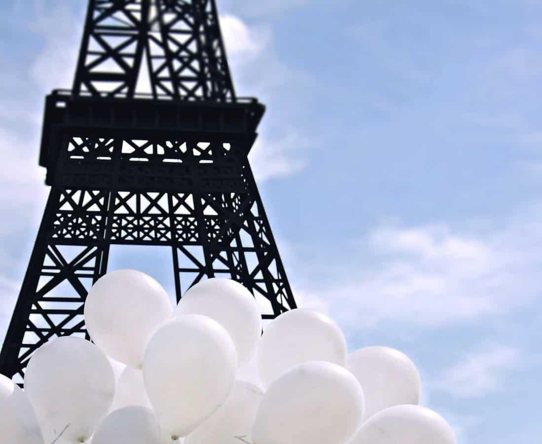 Frankreich, Paris, Stahl, Bau, Himmel, Turm, Metall, Bau, Ballon, hoch, im freien
