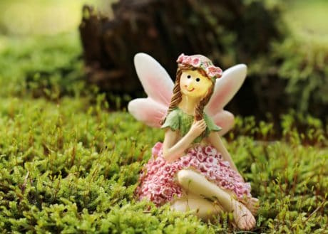 toy, grass, nature, moss, lichen, garden, fairy, girl, spring, flower, outdoor