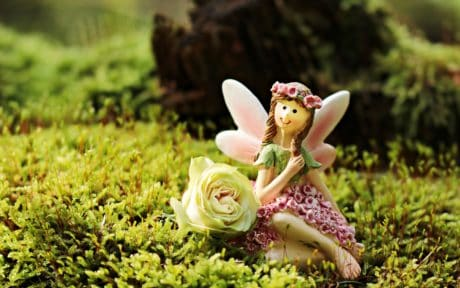 toy, object, grass, fairy, girl, spring, white rose, flower, nature, garden