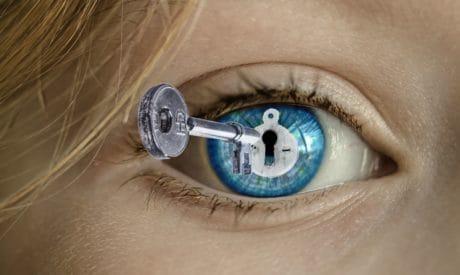 main, cheveux, photomontage, clé, cils, œil bleu, serrure