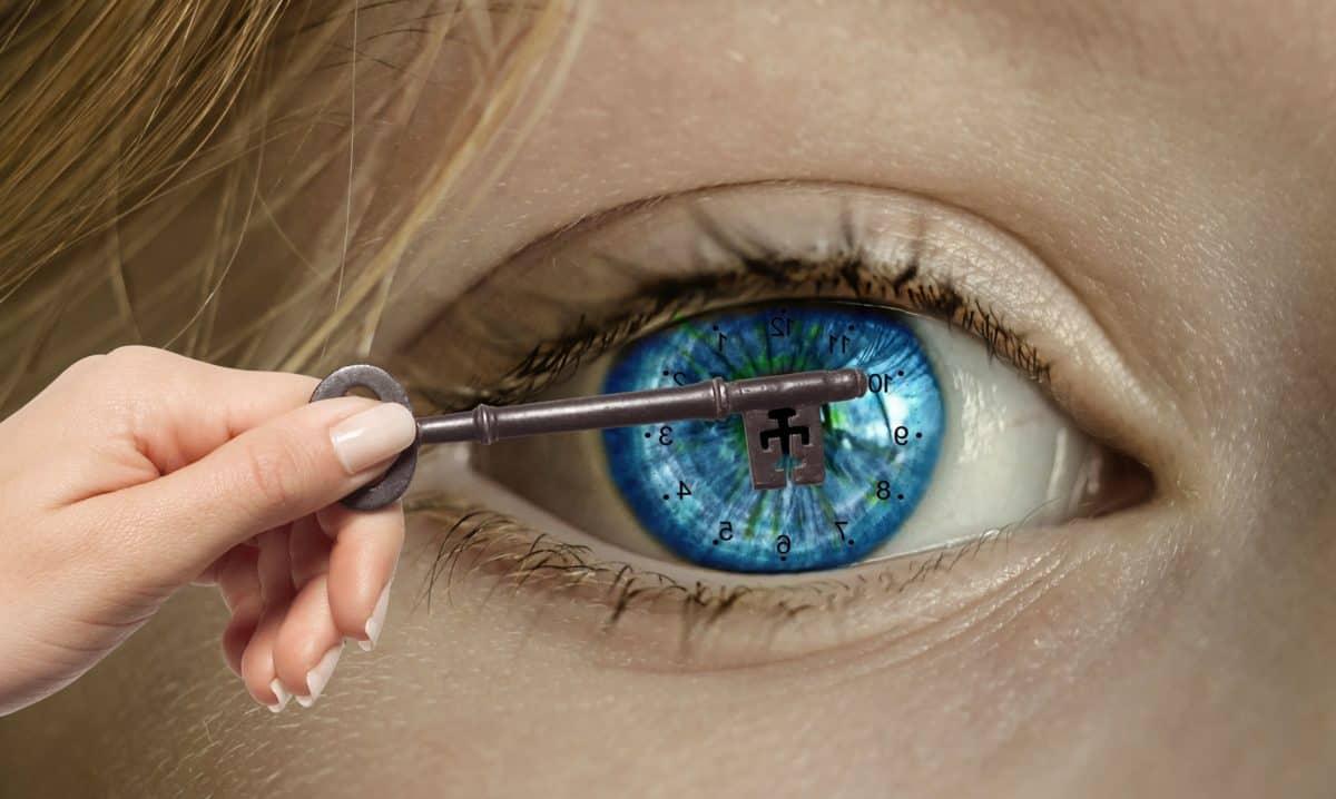 ключ, око, синьо, мигли, ръка, косата, фотомонтаж, кожата