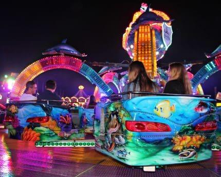 zabavni park, veselje, cirkus, festival, karneval, zabava, noć, događaj