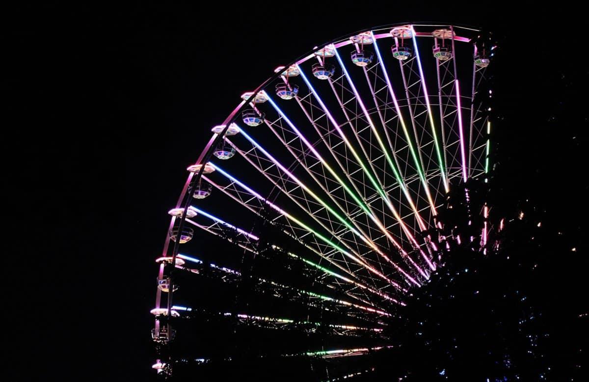 zábavný park, mesto, mechanizmus, kovový, zábava, noc, svetla