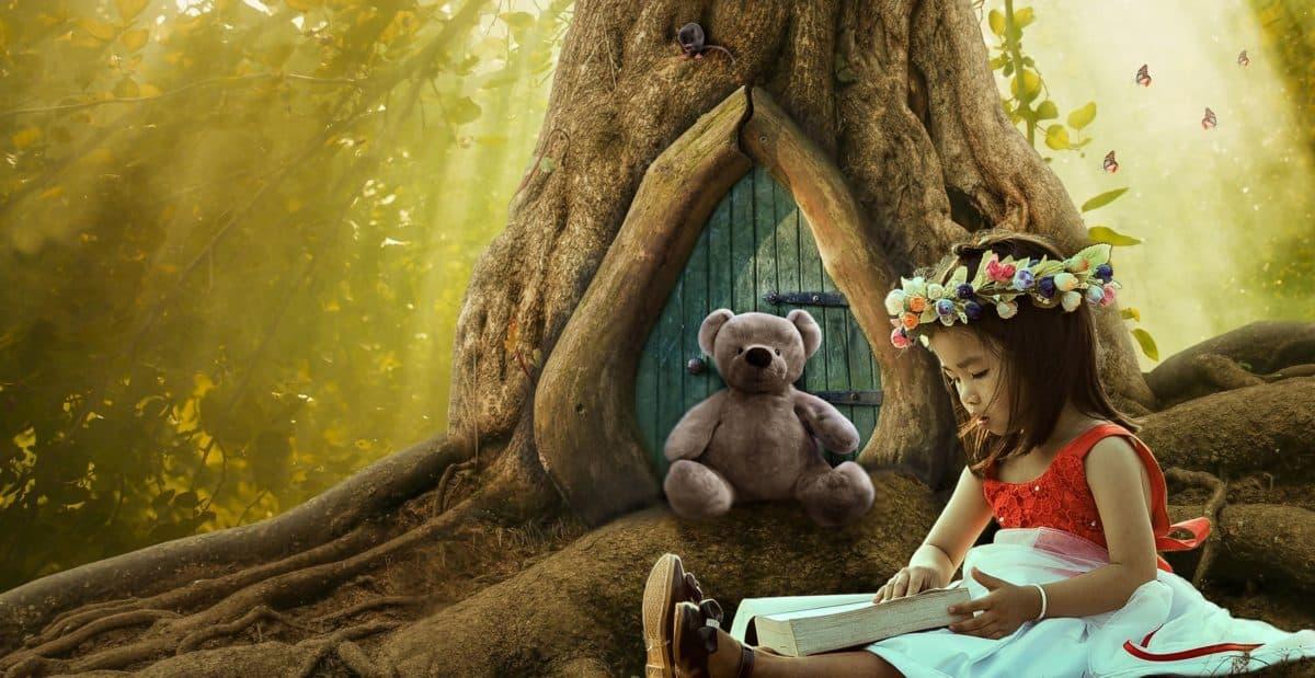 girl, teddy bear, flower, photomontage, tree, fairy tale