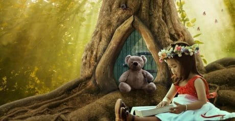 girl, teddy bear, flower, photomontage, tree, fairy tale