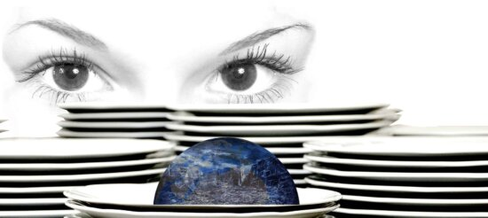 photomontage, woman, plate, decoration, face, planet, indoor, eye