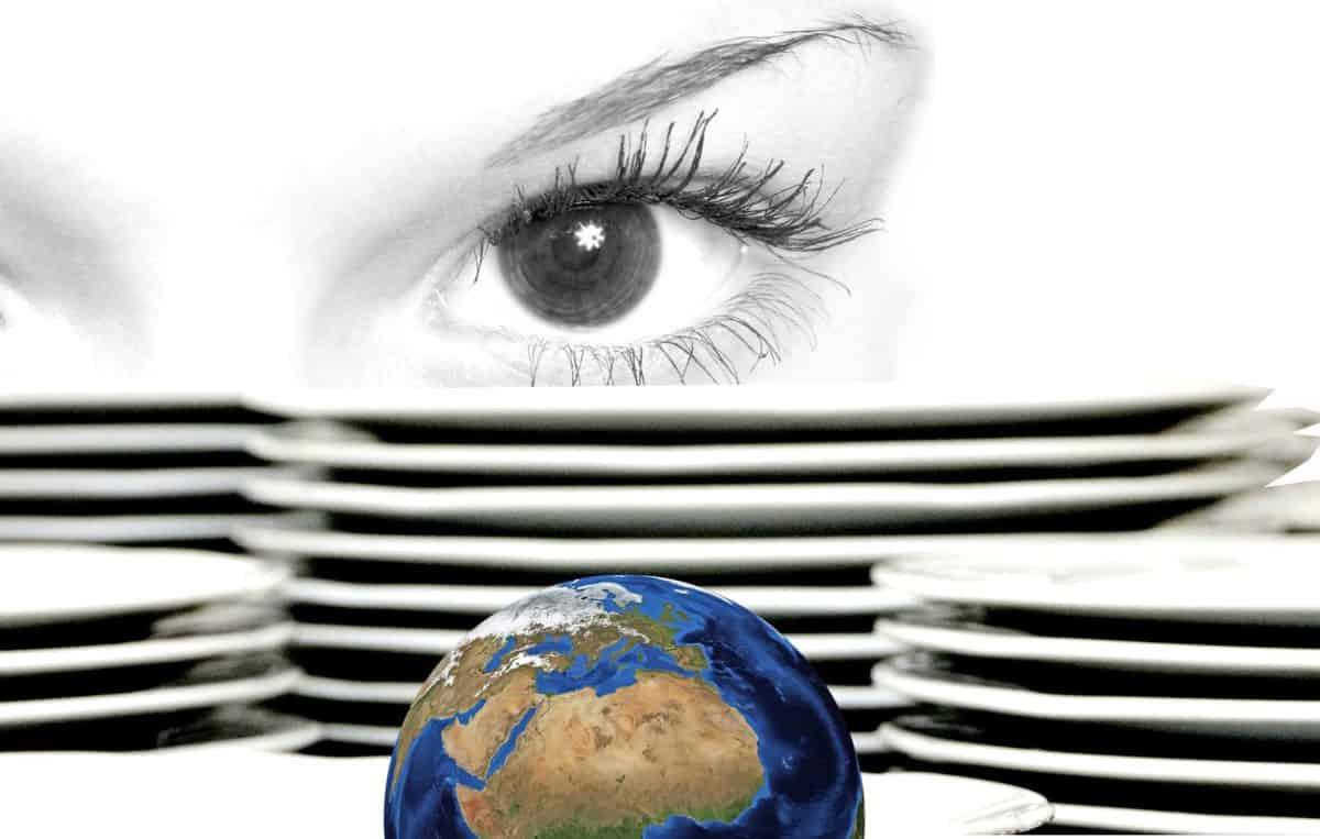 fotomontage, keramik, planet, indendørs, øjet, kvinde, plade, dekoration