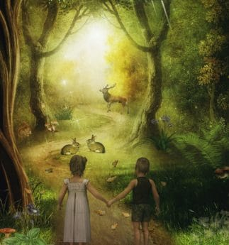 art, illustration, photomontage, creativity, art, drawing, children, forest, deer