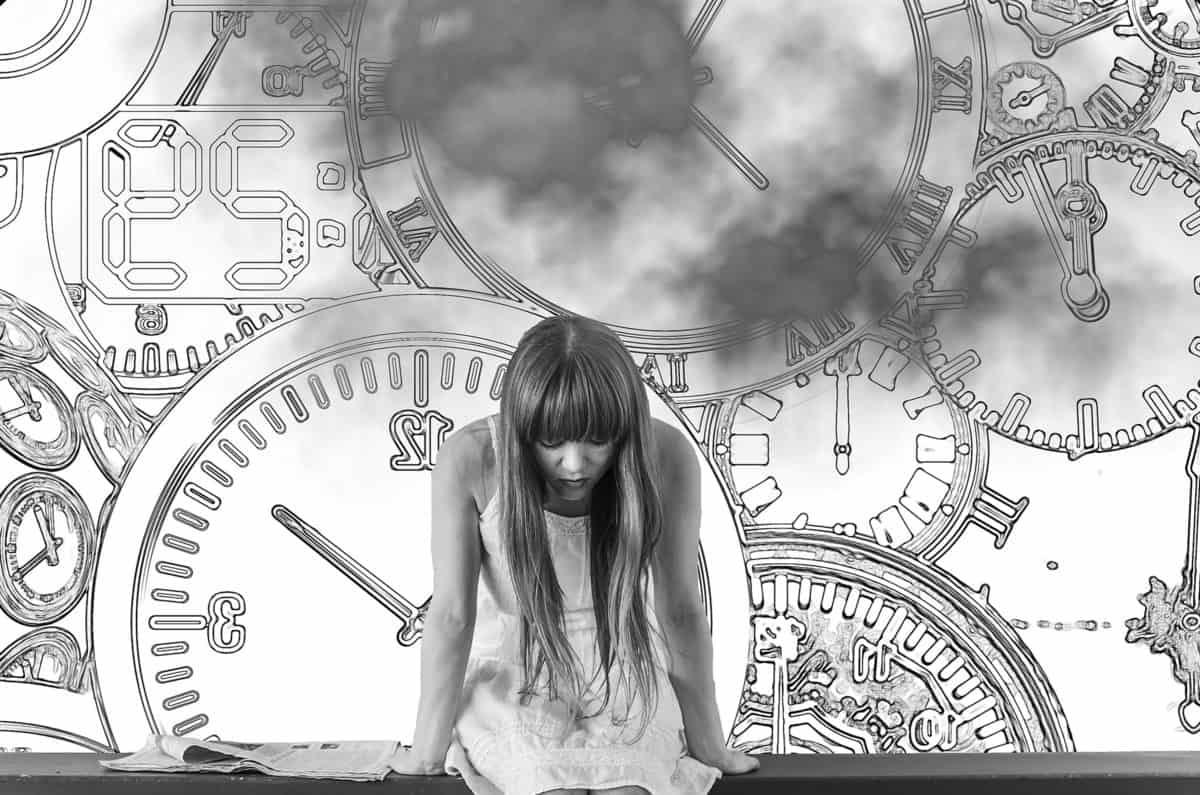 Monochrom, Fotomontage, Uhr, Minute, Termin, Karte, Skizze, Mädchen