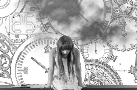monochrome, photomontage, watch, minute, deadline, map, sketch, girl
