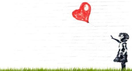 pittura, fotomontaggio, palloncino, cuore, bambino, ragazzo, amore, infanzia