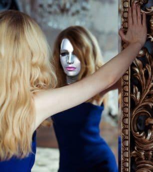 máscara, cara de niña, rubia, hermosa, mujer, joven, gente, retrato