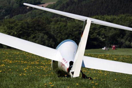 airplane, glider, vehicle, rudder, plane, grass, meadow