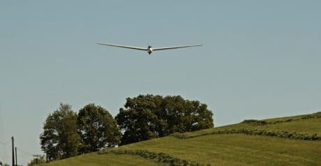 grass, daylight, landscape, sky, glider, airplane