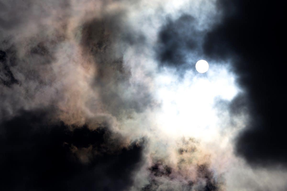 Moonlight, tmavé, oblohy, přírody, krajiny, satelit, Moon, atmosféra